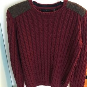 Ted Baker London Red Cable Knit Crewneck Sweater